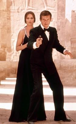 "Roger Moore i James Bond-filmen ""The Spy Who Loved Me"" från 1977."