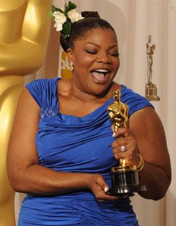 Mo'Nique blev glad över sin Oscar.