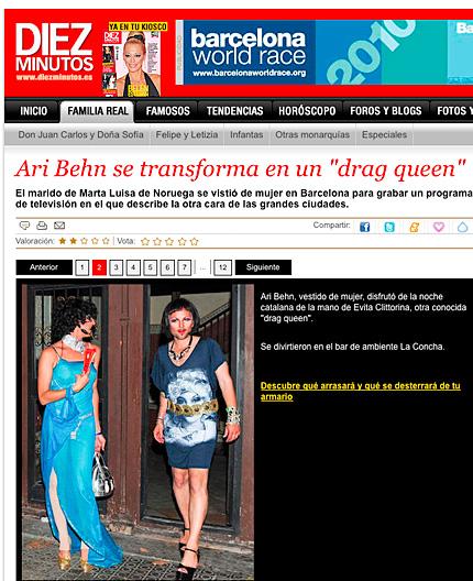 """Även spanska tidningar uppmärksammade Ari Behns """"nya"""" stil i Barcelona."""
