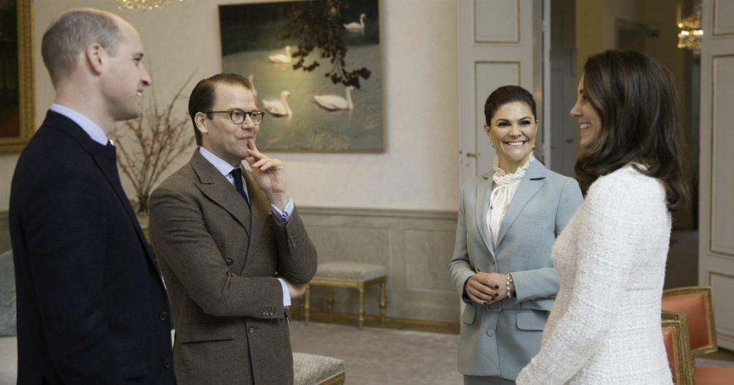 Prins William, prins Daniel, kronprinsessan Victoria, hertiginnan Kate på Haga slott.