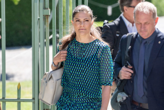 Crown Princess Victora wore Baum und Pferdgarten Milena Top and Selda Skirt. Princess Victoria wore BY MALENE BIRGER pupms and carried Tote Bag