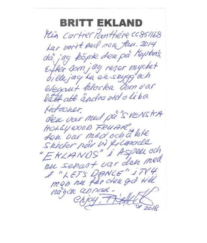 Klockan bar hon under inspelningen av Let's Dance, skriver Britt Ekland.