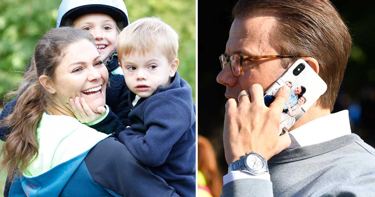 Prins Daniels mobilskal pryds av hans älsklingsbild på kronprinsessan Victoria, prinsessan Estelle och prins Oscar.