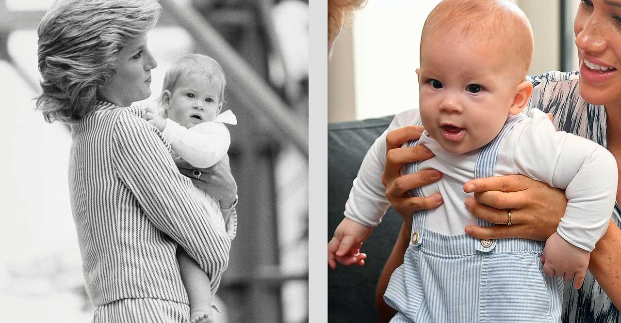 Harry och Archie med sina mammor