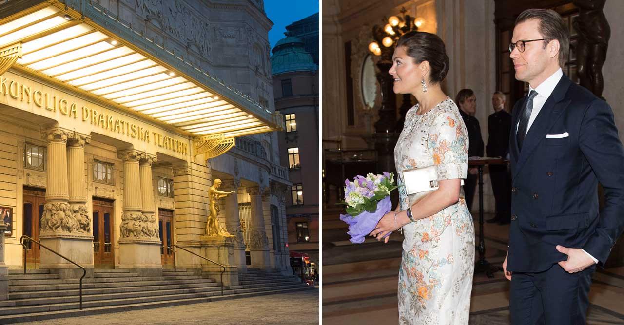 Kronprinsessan Victoria och prins Daniel var på Dramaten privat och såg Linje Lusta.