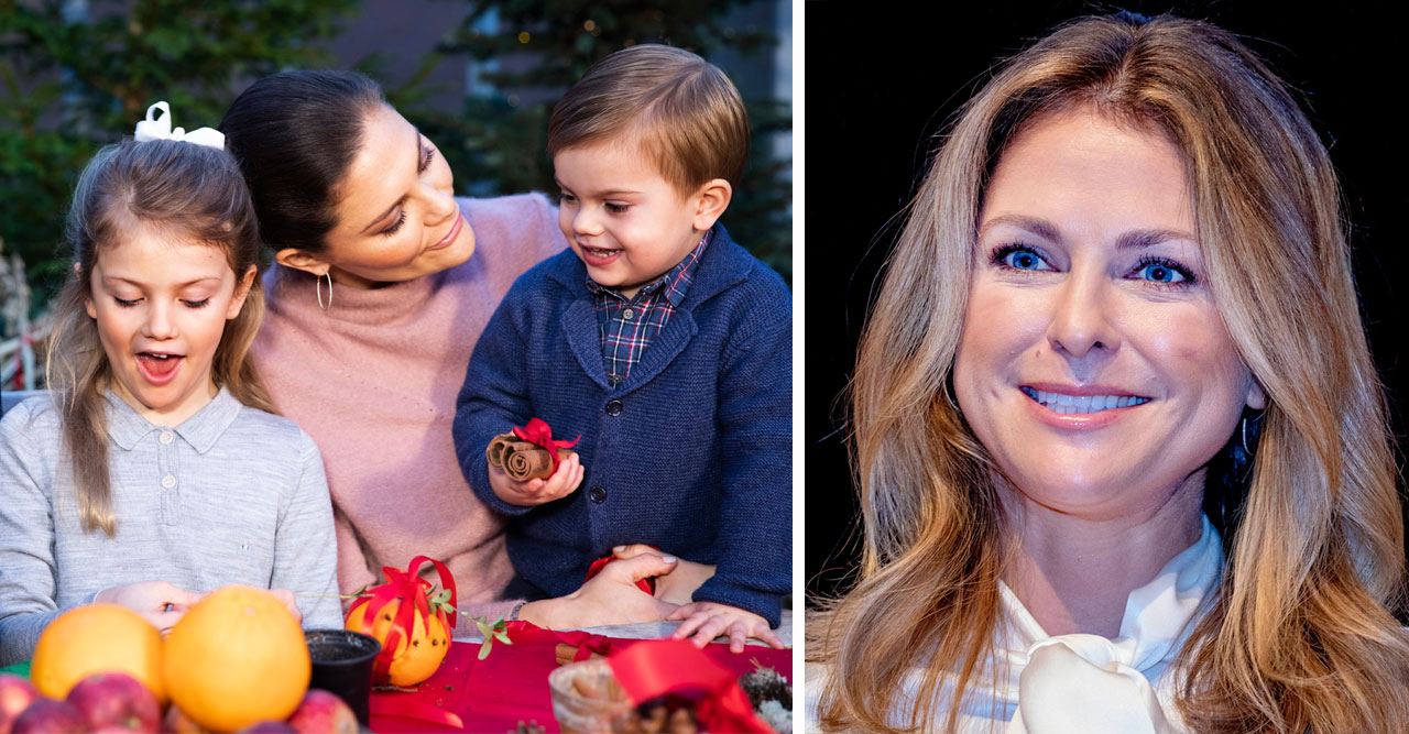 Prinsessan Madeleine. Kronprinsessan Victoria, prinsessan Estelle och prins Oscar julpysslar.