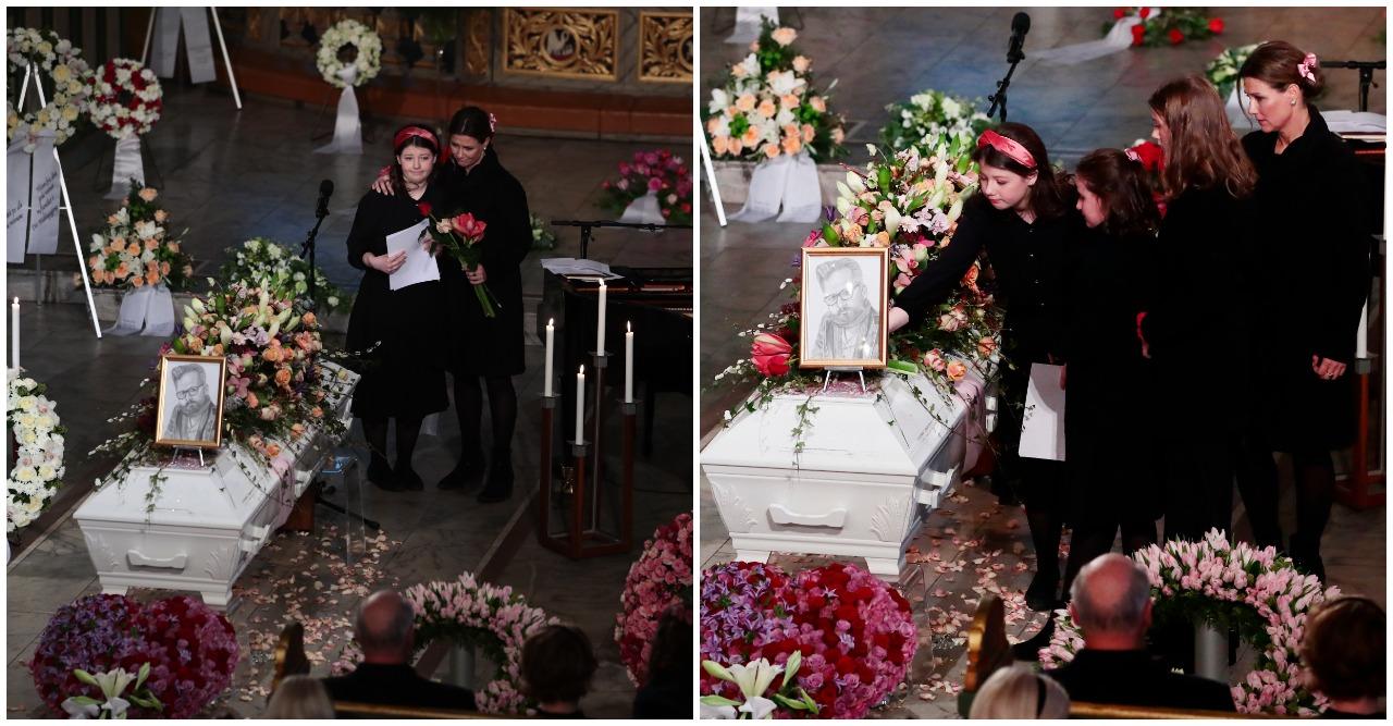 Märtha Louise tillsammans med döttrarna på Ari Behns begravning.