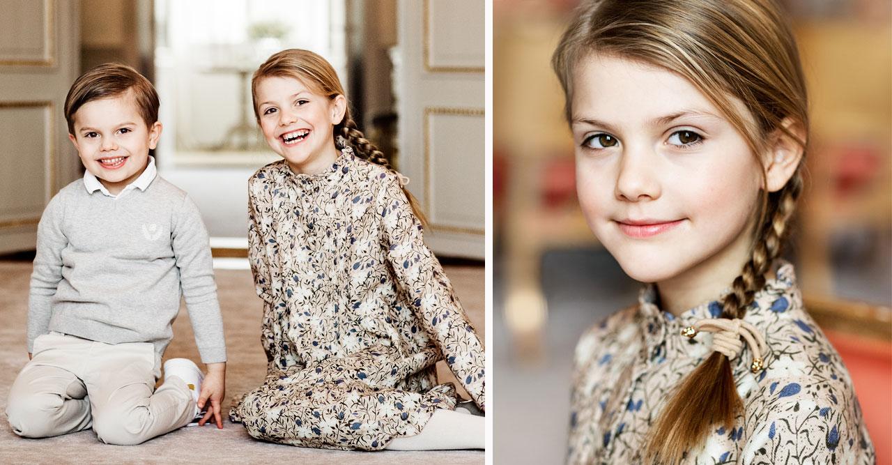 Födelsedagsbilden på prinsessan Estelle med prins Oscar-