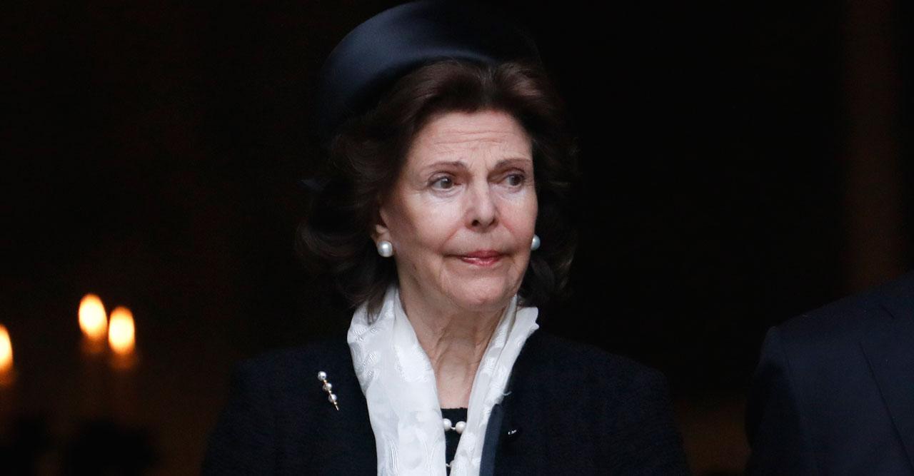 Drottning Silvia i sorg.