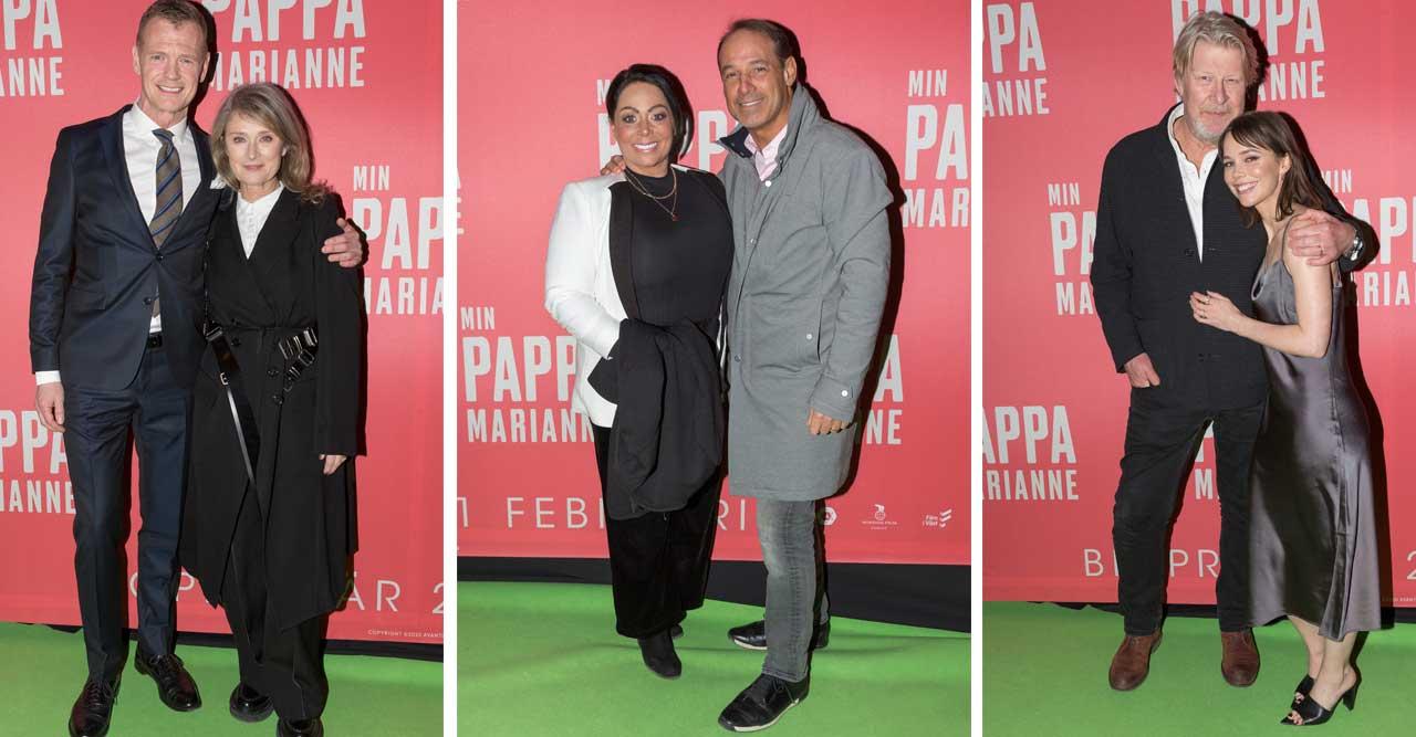 Lena Endre, Rolf Lassgård och en brunbränd Anna Book, alla ville se nya filmen Min pappa Marianne