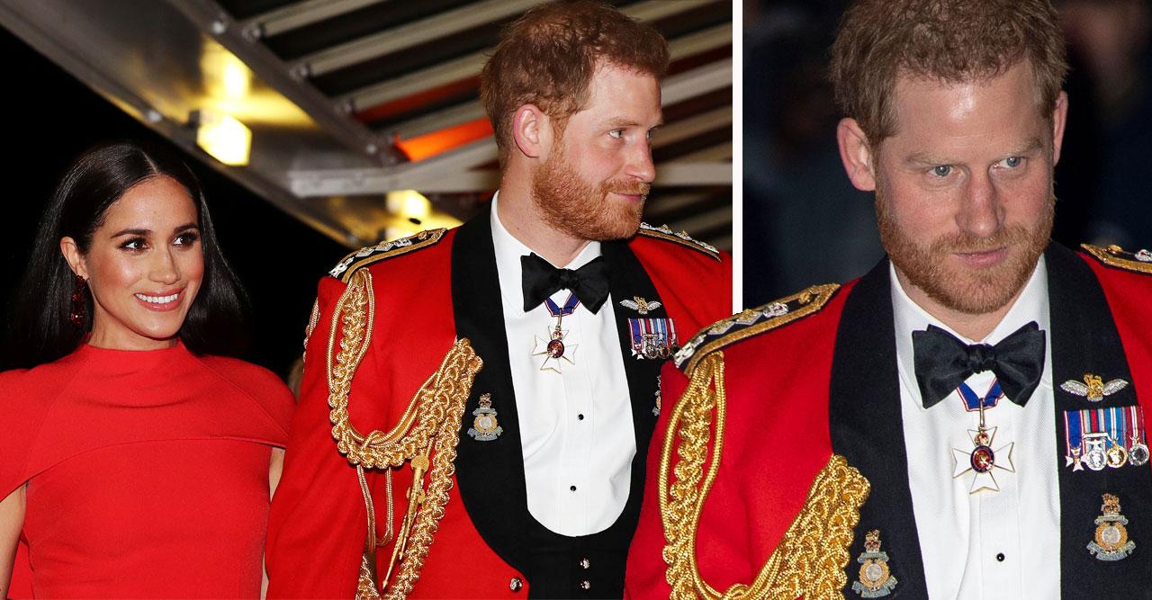 Meghan och prins Harry i rött.