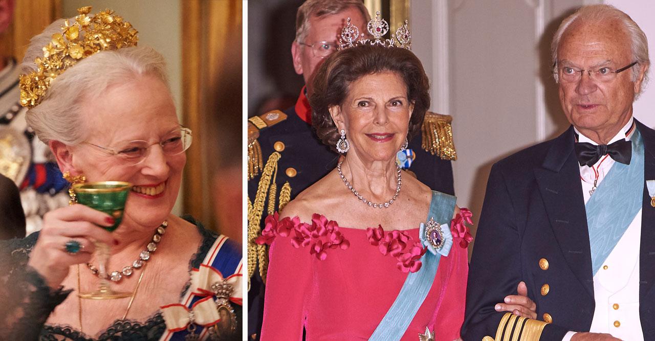 Drottning Margrethe kung Carl Gustaf och drottning Silvia.