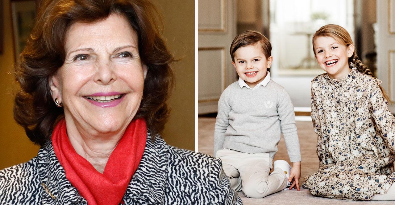 Drottning Silvia och barnbarnen prinsessan Estelle och prins Oscar.