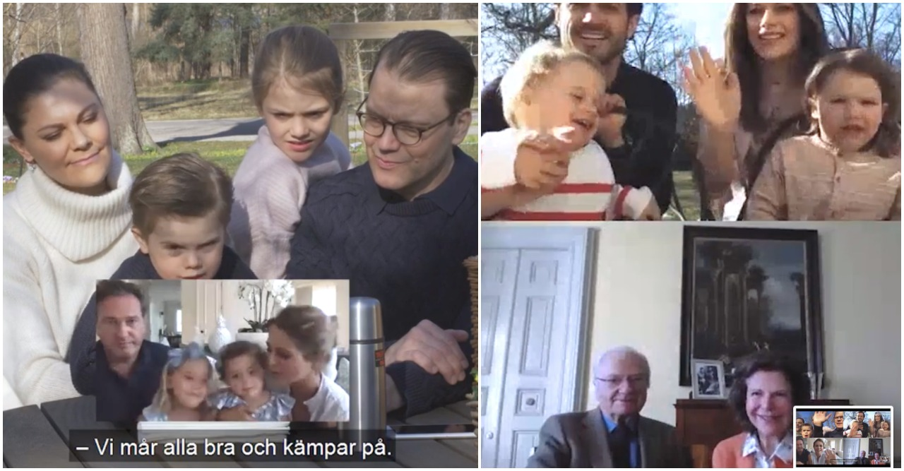 Kungafamiljen med barn och barnbarn firar påsk.