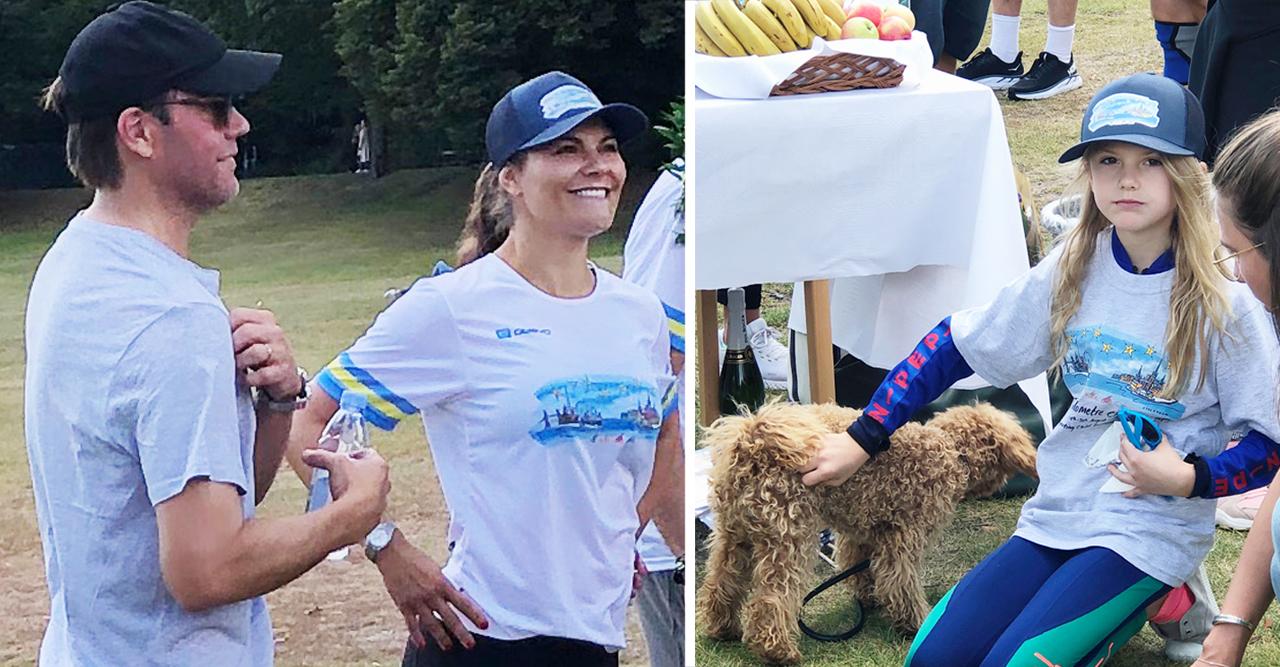 Victoria dök upp med Estelle och Oscar – och hunden Rio!