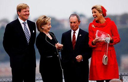 Holländska prinsparet <br> firade 400-årig vänskap<br> med Hillary Clinton