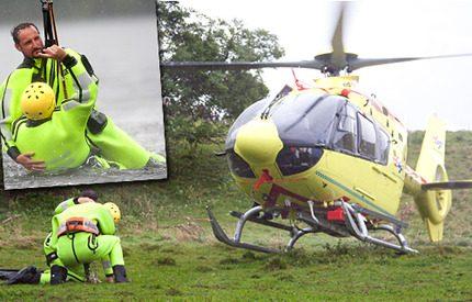 Kronprins Haakon räddad i helikopter