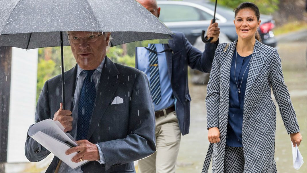 Just nu! Victoria och kungen på uppdrag i regnet