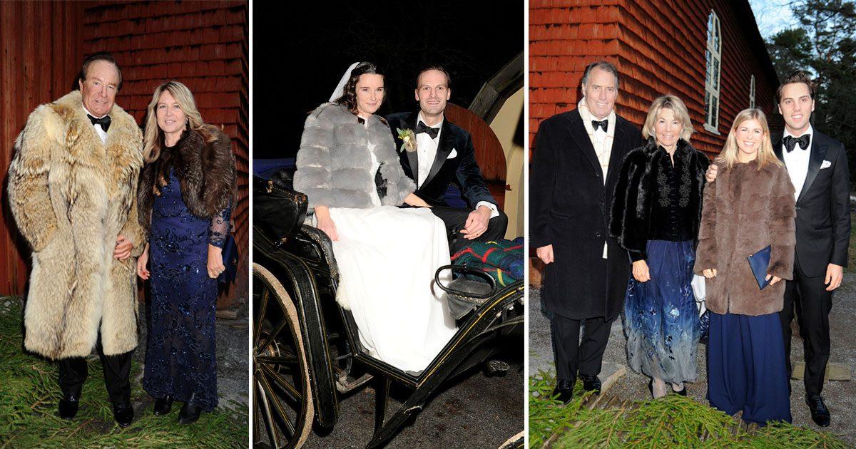 Kungaparets vänner på socitetsbröllop med pälstema