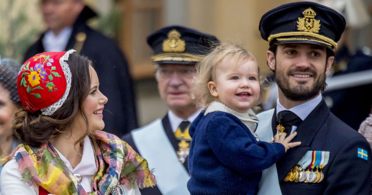 Prins Alexander med prinsessan Sofia och prins Carl Philip under prins Gabriels dop.