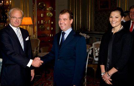 Kungen och kronprinsessan tog emot president Medvedev
