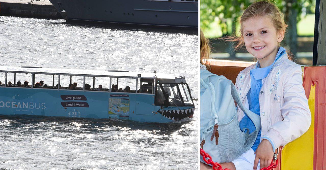 Estelle och mamma Victoria åkte buss – på vattnet