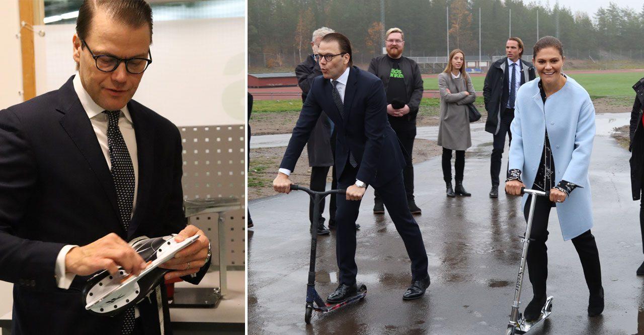 Se Victoria och Daniel slipa skridskor och åka kickbike