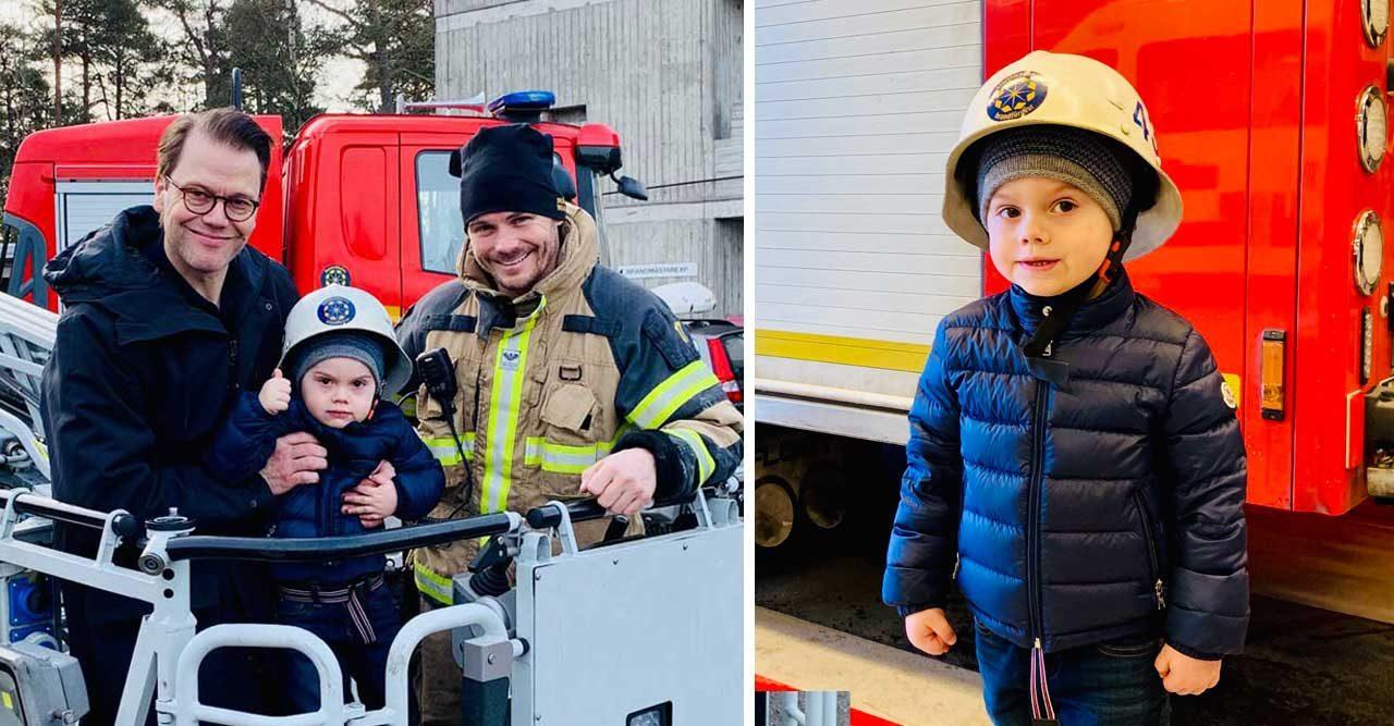 Se bilderna! Prins Oscar på utflykt – fick följa med pappa till brandstationen
