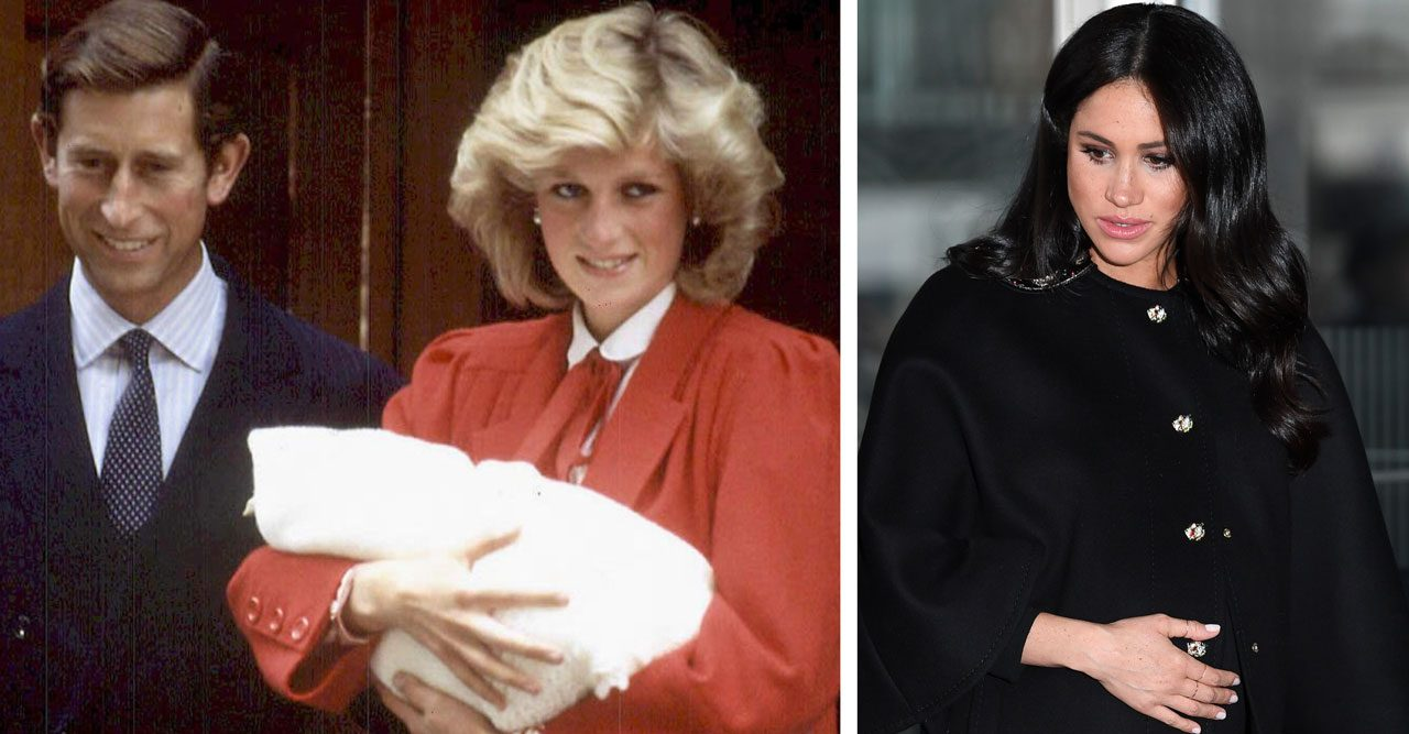 Meghan Markle och prinsessan Diana med nyfödd Harry