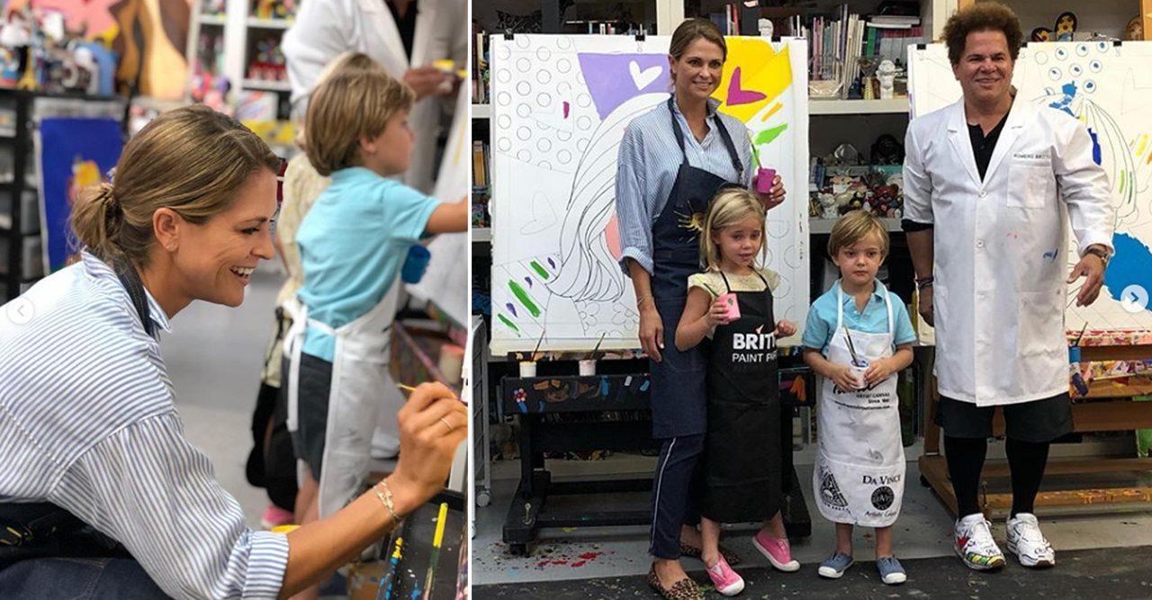 Nya bilder! Här målar prinsessan Madeleine porträtt av barnen