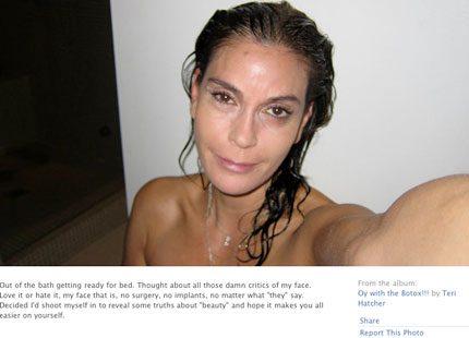 Teri Hatcher visar upp sitt Botox-fria ansikte på Facebook