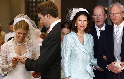 Kungen och drottningen på prinsbröllop i Coburg