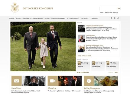 Norska hovets hemsida har fått en ansiktslyftning