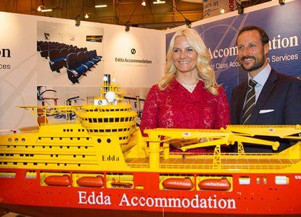 Kronprinsparet av Norge på oljemässan i Houston