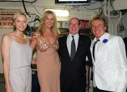 Charlene och Albert mötte Rod Stewart