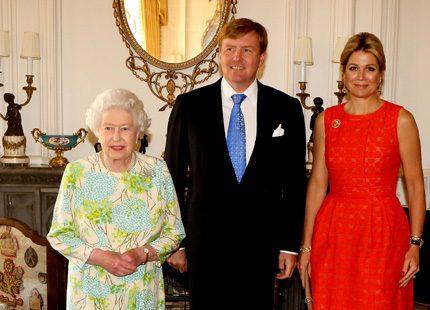 Drottning Elizabeth tog emot Máxima och Willem Alexander
