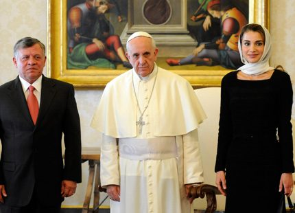 Påven i möte med Jordaniens kungapar