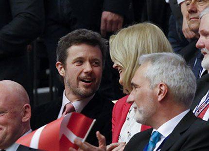 Kronprins Frederik på handboll med Helle Thorning-Schmidt