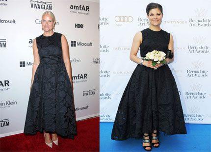 Victoria och Mette Marit i likadan klänning