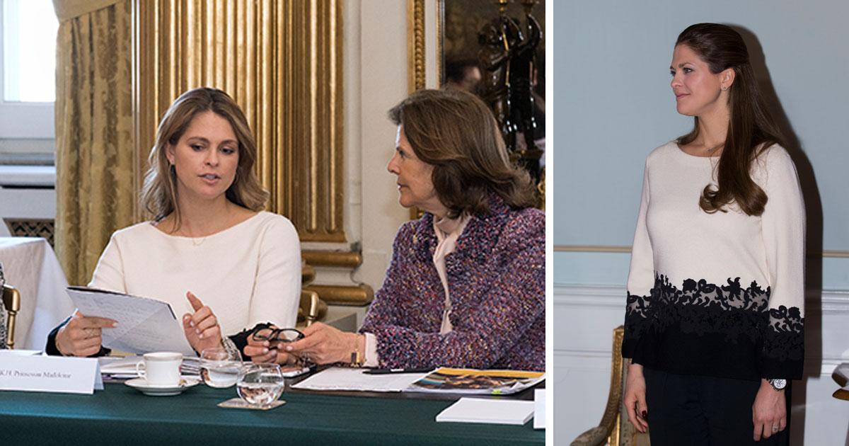 Prinsessan Madeleine tillbaka på jobbet – i supersnygg outfit från Tory Burch
