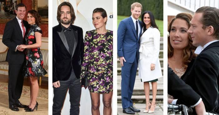 """Bröllopen som vi ser fram emot är de mellan prinsessan Eugenie och Jack Brooksbank, Charlotte Casiraghi och Dimitri Rassam, prins Harry och Meghan Markle samt Louise """"Lussan"""" och Gustav Thott."""