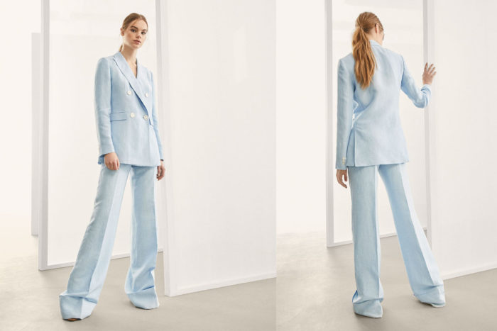 """Kostymen är från Massimo Dutti och heter """"Linen suit trousers with turn-up hem detail""""."""