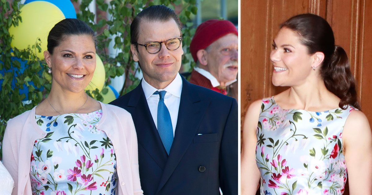 Victoria i blommig klännig från Oscar de la Renta