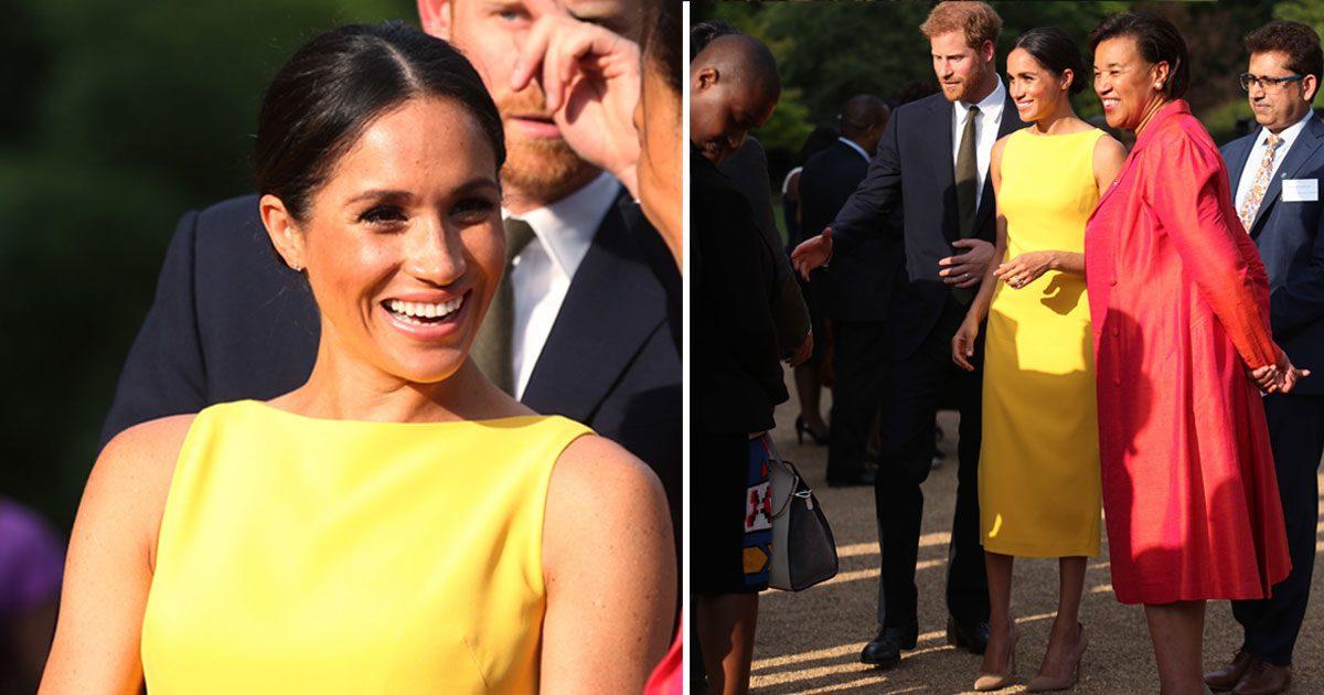 Meghan strålade i gul klänning