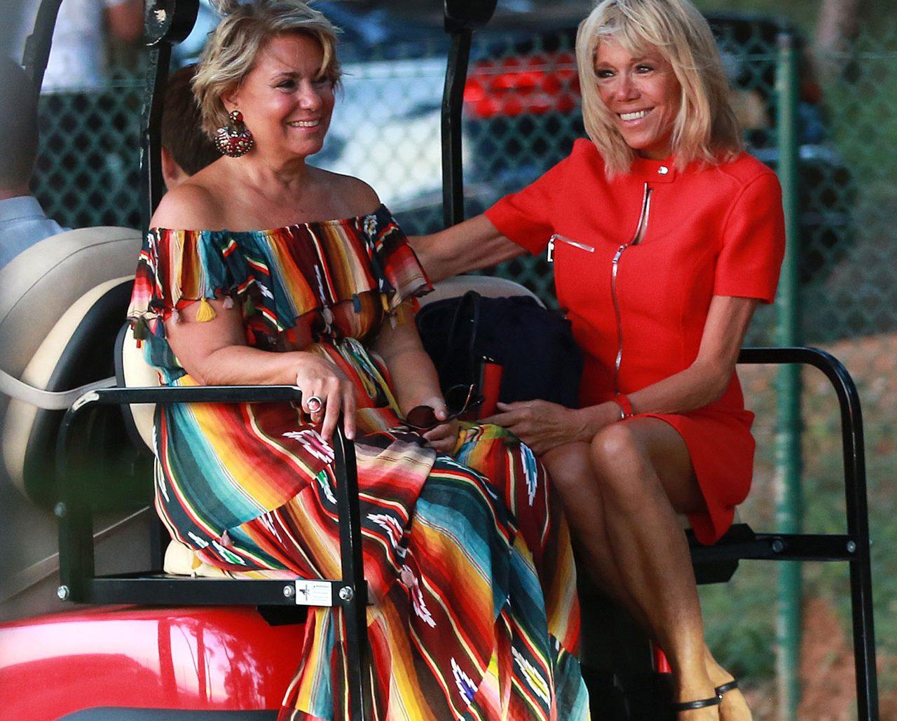 Storhertiginnan Maria Teresa och presidentfrun Brigitte Macron på golfbanan